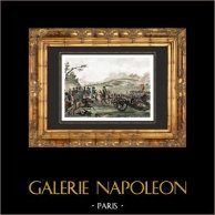 Guerres napoléoniennes - Campagne de France - 6ème coalition - Bataille de Craonne (7 mars 1814) | Gravure sur acier originale dessinée par Martinet, gravée par Réville. Aquarellée à la main. 1838