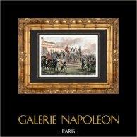 La Distribución de las águilas por el Príncipe Luis Napoleón Bonaparte sobre el Campo de Marte en París (Champ-de-Mars - 10 de mayo de 1852) | Original acero grabado. Anónimo. Agua-coloreado a mano. 1838