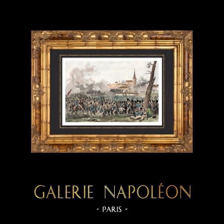Gravures Anciennes & Dessins | Guerres napoléoniennes - Campagne de France - Bataille de Méry-sur-Seine (22 février 1814) - Champagne-Ardenne | Taille-douce | 1838