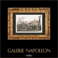 Guerre napoleoniche - Campagna di Francia - Battaglia di Méry-sur-Seine (1814) - Sciampagna-Ardenna | Incisione su acciaio originale disegnata da Martinet, incisa da Couché. Acquerellata a mano. 1838