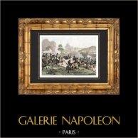 Guerre Napoleoniche - Battaglia di Arcis-sur-Aube (1814) - Campagna di Francia - Esercito Austriaco | Incisione su acciaio originale. Anonima. Acquerellata a mano. 1838