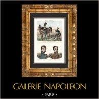 Fransk Mode - Militär Uniform - Franska nationalgardet (1814-1827) - Porträtts - Montholon (1783-1853) - Gourgaud (1783-1852) | Original stålstick. Anonymt. Akvarell handkolorerad. 1838