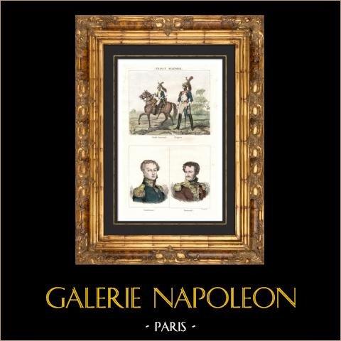Soldat Napoléonien - Uniforme - Garde Impériale - Portraits - Cambronne (1770-1842) - Daumesnil (1776-1832)   Gravure sur acier originale dessinée par Reville, gravée par Reville. Aquarellée à la main. 1838