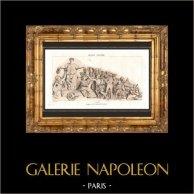 Monumento Storico - Parigi - Il Pantheon di Parigi  - Frontone | Incisione su acciaio originale incisa da Reville. Acquerellata a mano. 1838