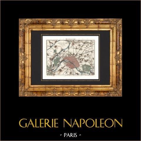 Antyczne Mapy - Obrona Paryż - 1814 |