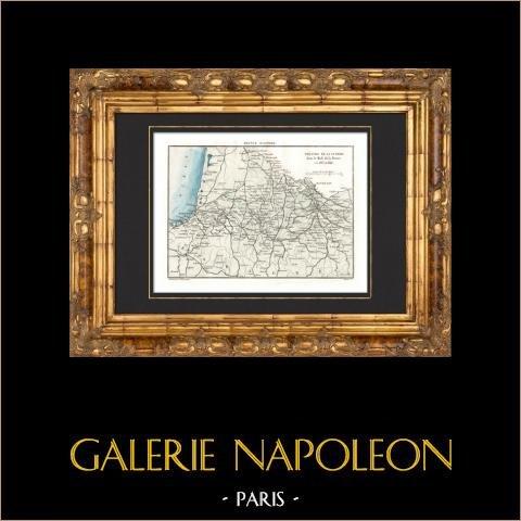 Antyczne Mapy - Pole Bitwy - 1813-1814 - Południowa Francja |