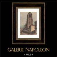 Vista de Tours - Basílica de Saint-Martin - Tour de l'Horloge (Francia) | Original grabado en madera (xilografía) dibujado por Armand Guéritte. Agua-coloreado a mano. 1898