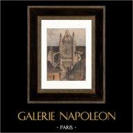 Vue de Tours - Cathédrale Saint-Gatien (France) | Gravure sur bois originale dessinée par Armand Guéritte. Aquarellée à la main. 1898