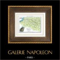Antique map - France - Basses-Pyrénées - Pyrénées-Atlantiques - Pau