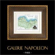 Ancienne carte - France - Côtes-du-Nord (Saint-Brieuc) | Gravure sur acier originale dessinée par Monin, gravée par Laguillermie et Ramboz. Aquarellée à la main. 1835