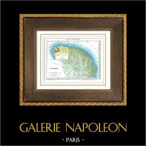 Antigua mapa - Francia - Guayana Francesa (Cayenne)   Original acero grabado dibujado por Monin, grabado por Laguillermie et Ramboz. Agua-coloreado a mano. 1835
