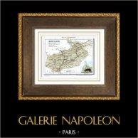 Ancienne carte - France - Hautes-Alpes (Gap) | Gravure sur acier originale dessinée par Monin, gravée par Laguillermie et Ramboz. Aquarellée à la main. 1835