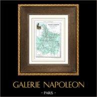 Ancienne carte - France - Hautes-Pyrénées (Tarbes - Bagnères-de-Bigorre)   Gravure sur acier originale dessinée par Monin, gravée par Laguillermie et Ramboz. Aquarellée à la main. 1835