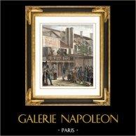 História e Monumentos de Paris - Desfile sobre a Velha Boulevard du Temple - Boulevard du Crime (1816) | Gravura em madeira original (xilogravura) desenhada por Feart. Aquarelada a mão. 1881