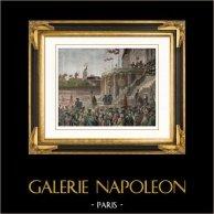 Revolución Francesa - Culto del Ser Supremo (8 de Junio de 1794) - Robespierre - Champ de Mars - Paris | Original grabado en madera (xilografía) dibujado por Jonnard. Agua-coloreado a mano. 1881