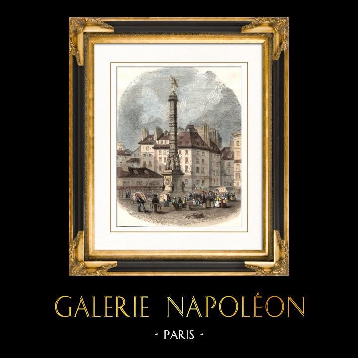 Gravures Anciennes & Dessins | Histoire et Monuments de Paris - Ancienne Colonne sur la Place du Chatelet à Paris (1858) | Gravure sur bois | 1881