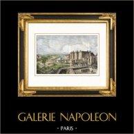 Monuments de Paris -  La Bastille avec ses murs d'enceinte sous Charles V (France)