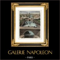 Monumentos de Paris - Bassin de la Bastille - Cuenca de la Bastilla | Original grabado en madera (xilografía) dibujado por M. Pin, grabado por Bertrand. Agua-coloreado a mano. 1881