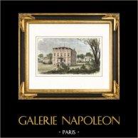Monuments de Paris - Maison de Gioachino Rossini - Passy - Bois de Boulogne (France) | Gravure sur bois originale dessinée par Bertrand. Aquarellée à la main. 1881