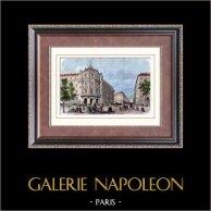 Monument av Paris - Teater - Théâtre du Vaudeville - Boulevard des Capucines i Paris | Original tråstick efter teckningar av Provost. Akvarell handkolorerad. 1880