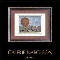 Pallone ad Champ de Mars - Parigi (1868) | Incisione xilografica originale. Anonima. Acquerellata a mano. 1880