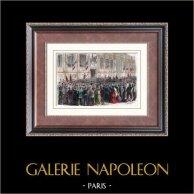 Proclamation of the French Republic (1870) - Hotel de Ville de Paris | Original wood engraving engraved by Daudenarde. Hand watercolored. 1880