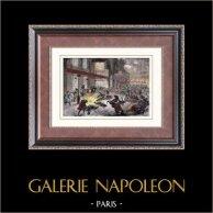 Attentat contre Napoléon III à Paris (14 janvier 1858) | Gravure sur bois originale dessinée par Godefroy. Aquarellée à la main. 1880