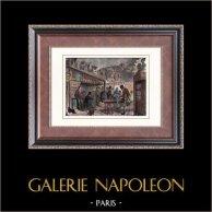 Monuments de Paris - Taverne - Le Lapin Blanc - Rue aux Fèves (1859)   Gravure sur bois originale. Anonyme. Aquarellée à la main. 1880