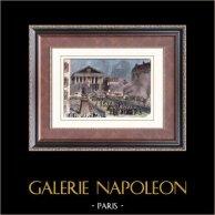 Révolution française de 1848 - Église de la Madeleine - Paris (Février 1848) | Gravure sur bois originale. Anonyme. Aquarellée à la main. 1880