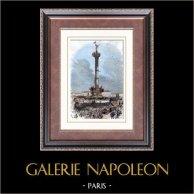 Colonne de Juillet - Place de la Bastille - Paris - Demonstration (1871) | Original tråstick efter teckningar av Vierce, graverade av Daud.. Akvarell handkolorerad. 1880
