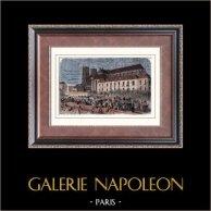 Révolution de Juillet 1830 - Pillage de l'Archevêché de Paris | Gravure sur bois originale dessinée par Gaildrau, gravée par Pibaraud. Aquarellée à la main. 1880