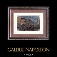 Barricade Faubourg du Temple - Paris - 8 février 1870 | Gravure sur bois originale dessinée par Gaildrau, gravée par Cosson. Aquarellée à la main. 1880