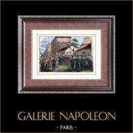 Andra Franska republiken - 1849 - Demonstration av Montagnards - Conservatoire des arts et métiers | Original tråstick. Anonymt. Akvarell handkolorerad. 1880