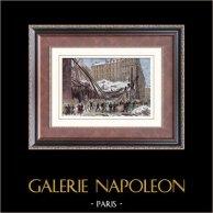 Sprofondamento di mercato - Strada Château d'eau - Parigi (1879) | Incisione xilografica originale disegnata da Deroy, incisa da Dumont. Acquerellata a mano. 1880