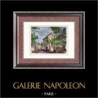 Vue de La Folie-Genlis - Carbonneau - Maison - Paris | Gravure sur bois originale gravée par E. Veyssier. Aquarellée à la main. 1880