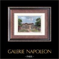 Castello di Bercy - Parco - Île-de-France - Distrutto | Incisione xilografica originale disegnata da Veyssier, incisa da Caudillaux. Acquerellata a mano. 1880