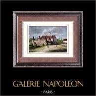Castillo - Château des Porcherons - Château du Coq - Saint-Lazare - Paris - Destruido | Original grabado en madera (xilografía) dibujado por Sauvestre, grabado por Crepaux. Agua-coloreado a mano. 1880