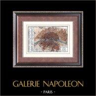 Zabytkowy Plan Miasta Paryża pod Panowaniem Ludwik XV