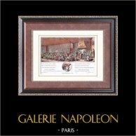 Cabaret de Jean Ramponneau (1758) - Paris | Gravure sur bois originale dessinée par H. Aquarellée à la main. 1880