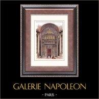 Église de la Madeleine - Pipe Organ - Paris (France) | Original wood engraving engraved by Thiollet. Hand watercolored. 1880
