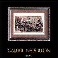 Cabaret de Jean Ramponneau (1758) - Paris - Cuisine | Gravure sur bois originale dessinée par Valentin. Aquarellée à la main. 1880