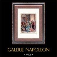 Revoca dell'Editto di Nantes (1685) - Protestantesimo - Luigi XIV di Francia - Persecuzione | Incisione xilografica originale disegnata da Castelle, incisa da Joliet. Acquerellata a mano. 1880