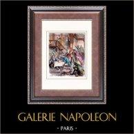 Histoire et Monuments de Paris - Cabaret de l'Arche Marion | Gravure sur bois originale dessinée par Castelli, gravée par Perrichon. Aquarellée à la main. 1880