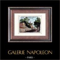 Historia och Monument av Paris - Ringmur av Filip II August av Frankrike - 13. Århundrade  | Original tråstick. Anonymt. Akvarell handkolorerad. 1880