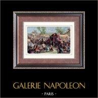 Il convoglio del re Luigi XIV attraversa Parigi | Incisione xilografica originale disegnata da Deschamps. Acquerellata a mano. 1880