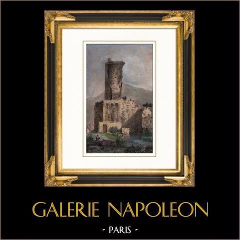 Vy över La Turbie - La Tour d'Auguste - Torn av Augustus - Furstendömet Monaco (Frankrike) | Original stålstick efter teckningar av Danvin, graverade av Lalaisse. Akvarell handkolorerad. 1840