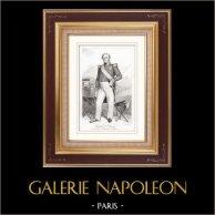 Portrait de Bertrand Clauzel (1772-1842) - Maréchal de France | Gravure sur acier originale dessinée par Champmartin. 1840