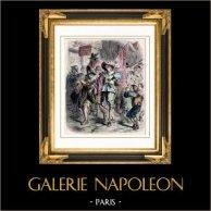 La Fronde à Paris (1648-1653)   Gravure sur bois originale dessinée par Gerlier. Aquarellée à la main. 1880