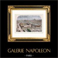 Vista de París - Palacio de las Tullerías y Palacio del Louvre antes del incendio de 1871