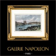 Historia och Monument av Paris - Spår av Hôtel de Bretonvilliers - Île Saint-Louis   | Original tråstick. Anonymt. Akvarell handkolorerad. 1880